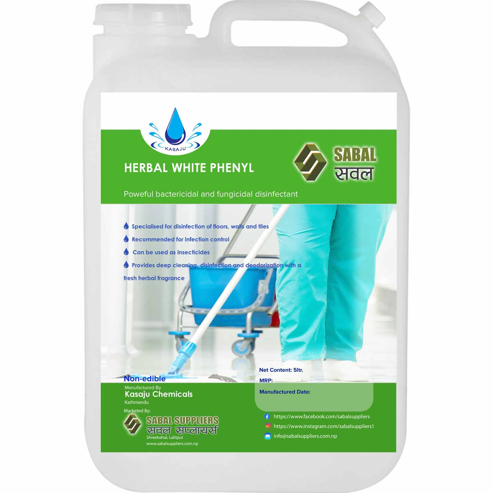 Sabal Herbal White Phenyl 5ltr.