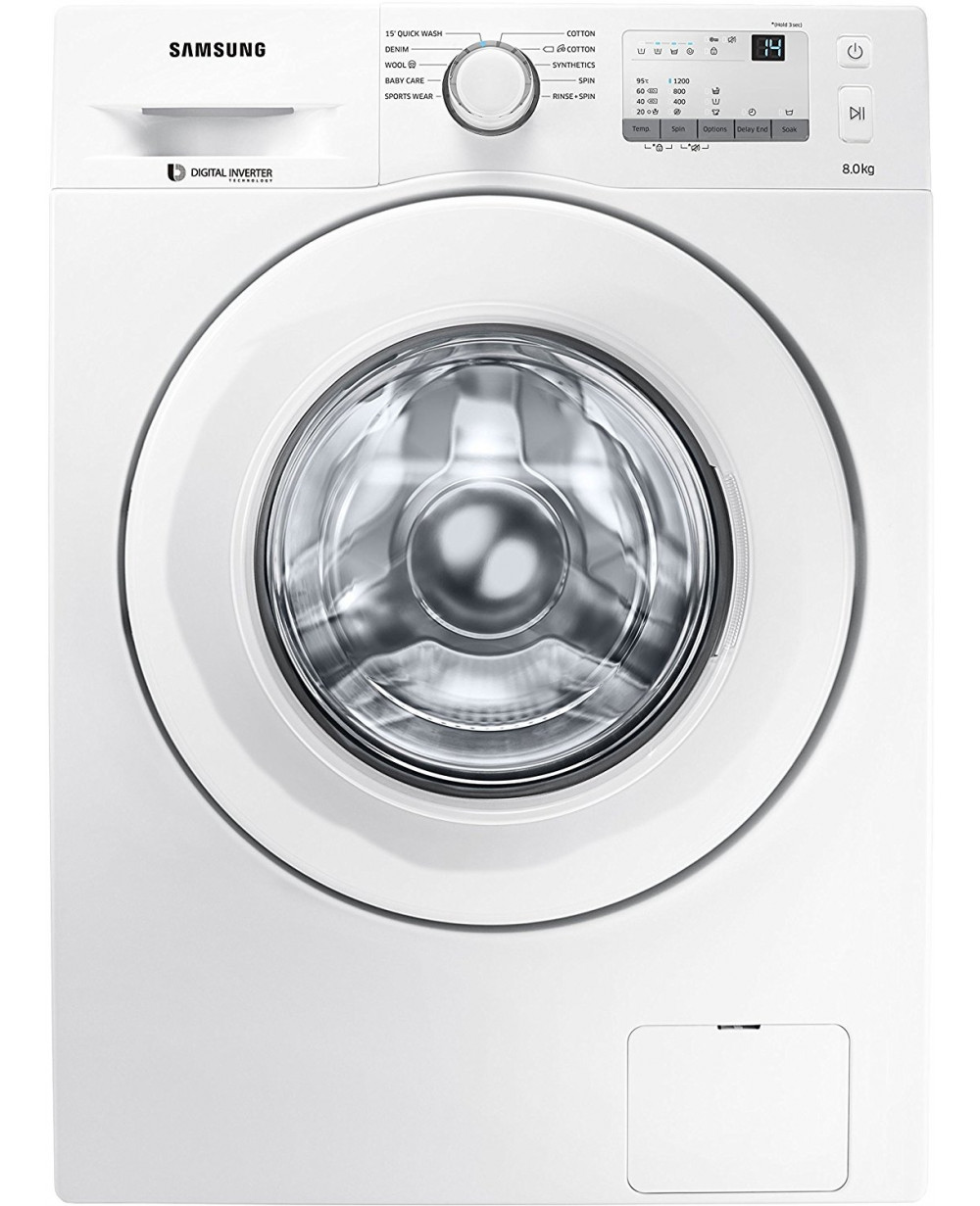 Samsung Fully Automatic Front Loading Washing Machine Without Bubble Technology White WW80J3237KW - 8 Kg